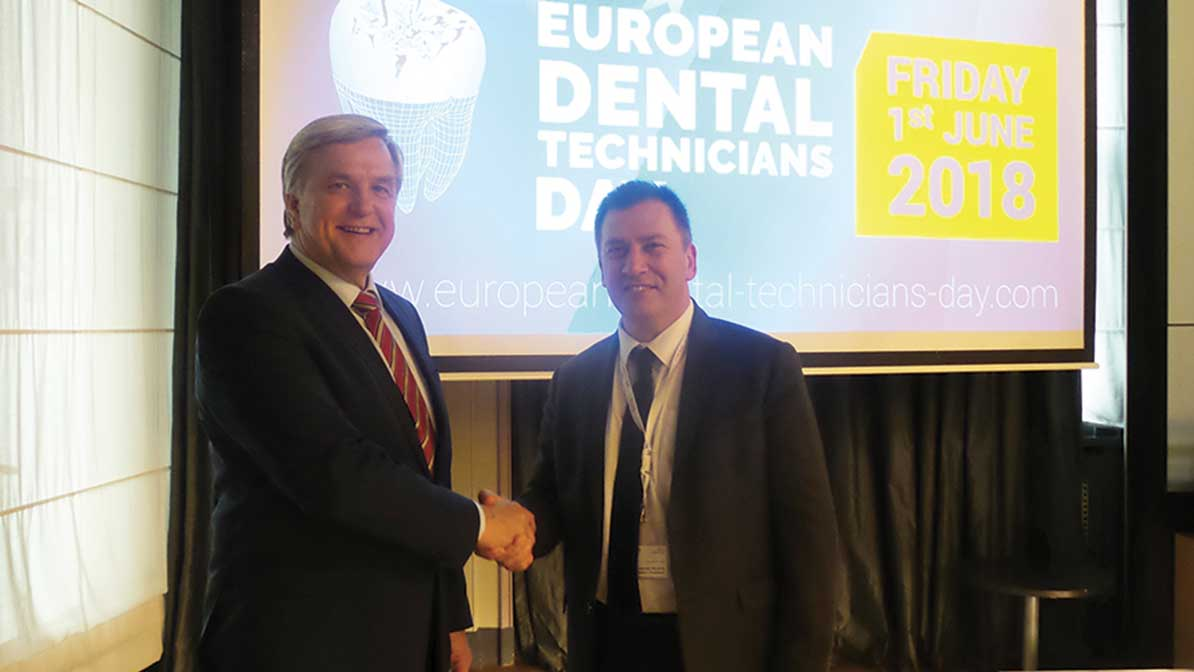 Mr. Laurent Munerot with Mr. Walter Winkler, Secretary general of the VDZI, the German organization of dental technicians