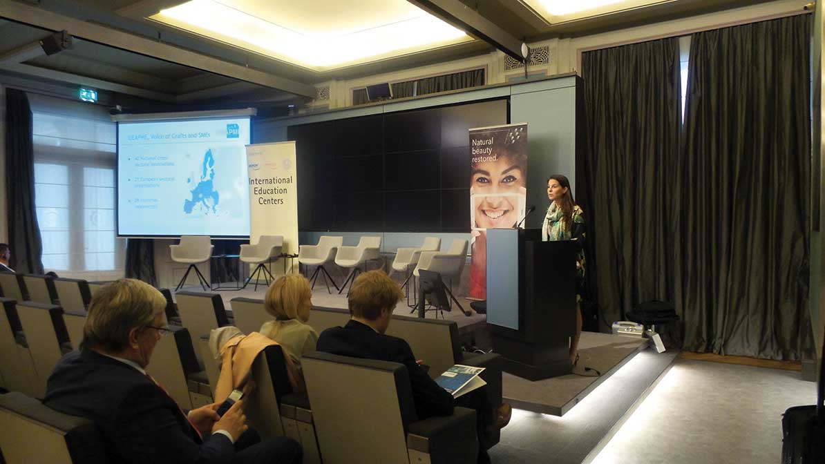 Mrs. Véronique Willems, Secretary General of UEAPME, presented the employers' organization representing the interests of the craft industry, the European trades and SMEs at EU level.