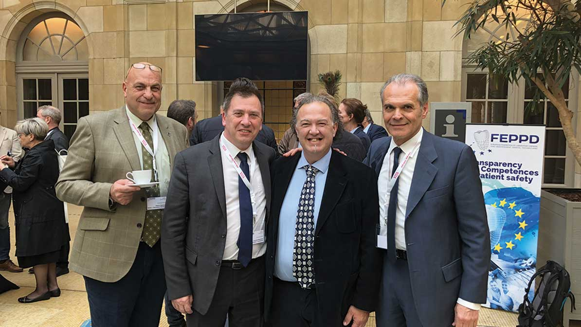 Pierre Zammit, Secretary General of FEPPD (Malta), Laurent Munerot, President of FEPPD, Genaro Mordenti and Antonio Zillioti of the Italian organisation.